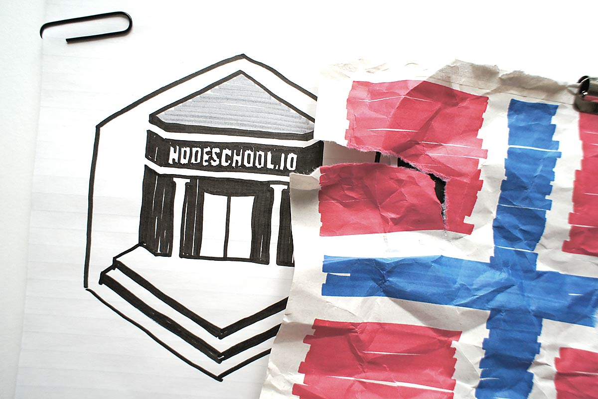 NodeSchool logo and Norwegian flag